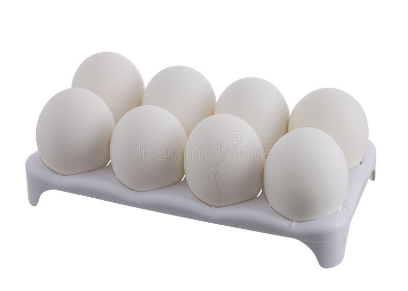 треснутая коробка eggs 8 одна белизна стоковые фото