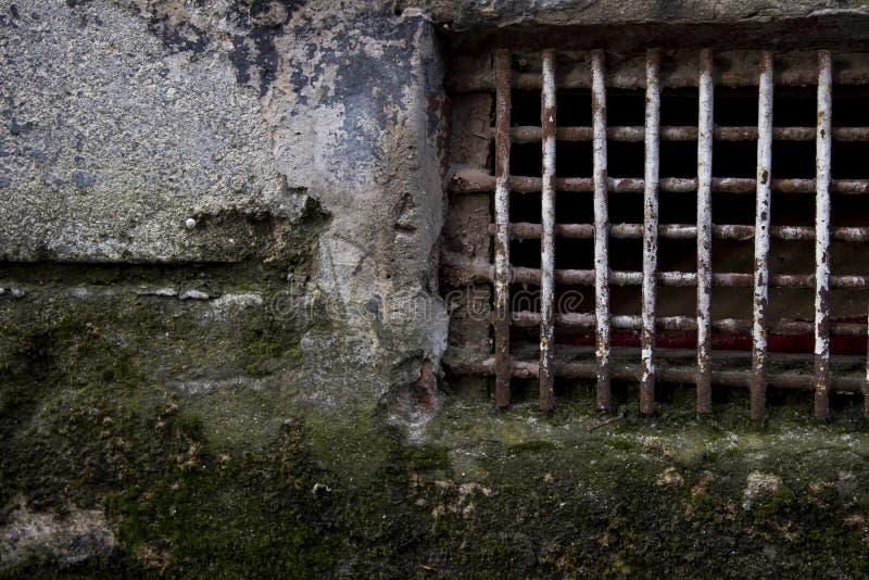 Треснутая мшистая стена с ржавыми решетками стоковая фотография rf