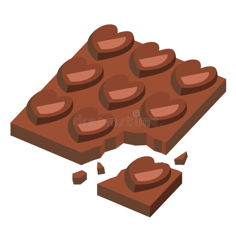 Треснутая форма сердца шоколадного батончика на день валентинки, иллюстрация вектора