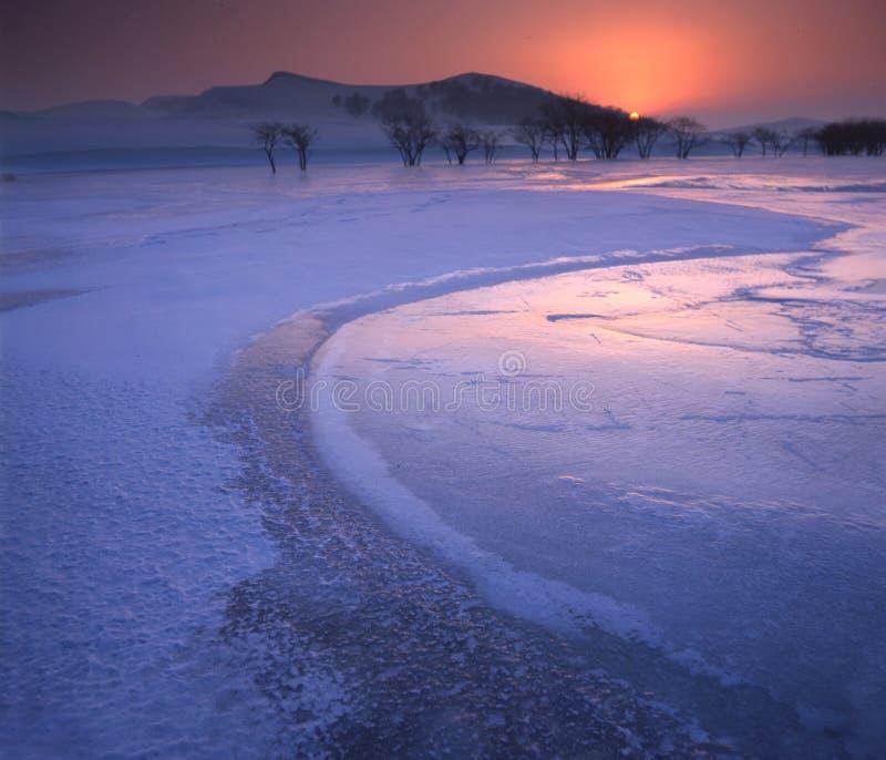 треснутое, котор замерли река льда стоковое фото