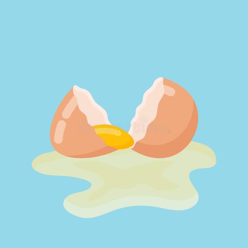 Треснутое яичко с раковиной и желтком также вектор иллюстрации притяжки corel иллюстрация штока