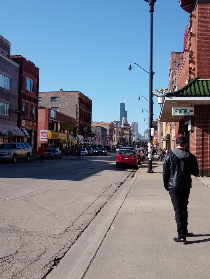 Треснутые улицы идя, Чикаго города стоковые фотографии rf