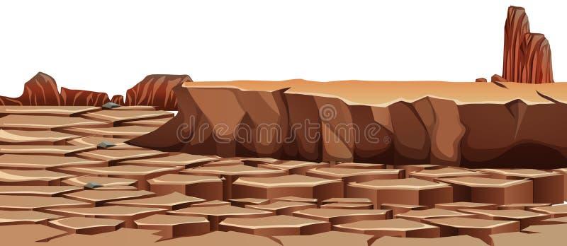 Треснутый засухой ландшафт пустыни иллюстрация вектора