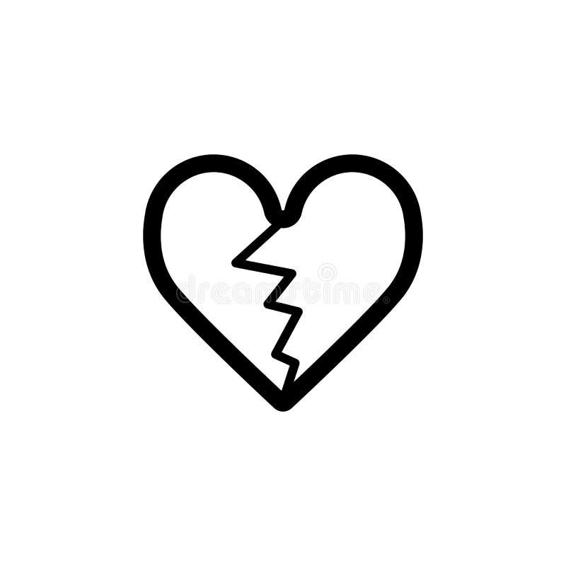 Треснутый значок вектора сердца Черно-белая иллюстрация влюбленности Значок плана линейный разбитого сердца бесплатная иллюстрация