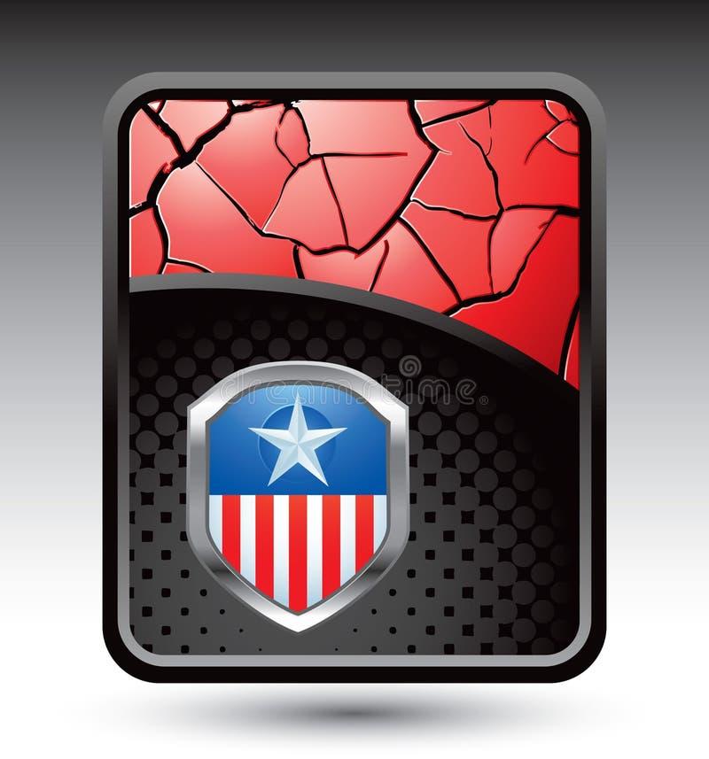 треснутый предпосылкой красный цвет иконы патриотический иллюстрация вектора