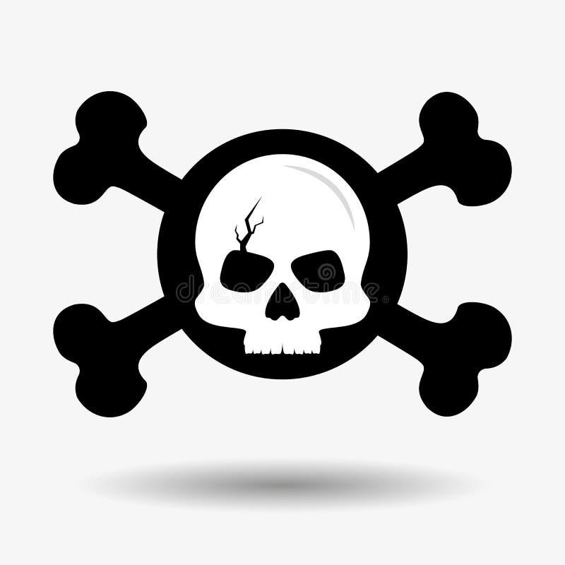 Треснутый череп и пересеченные косточки, значок Концепция предупреждения смертной опасности Метка пирата вектор иллюстрация вектора