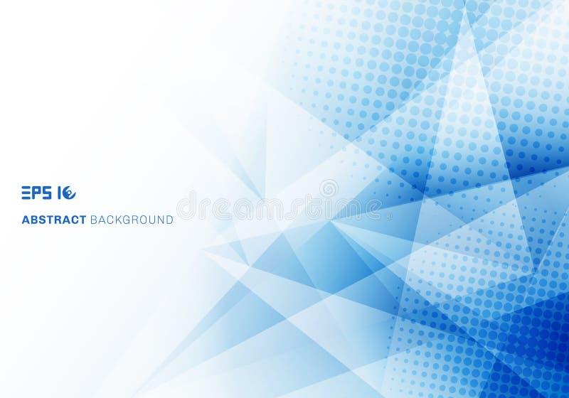 Треугольники полигон и полутоновое изображение конспекта низкие поли голубые с космосом экземпляра иллюстрация вектора