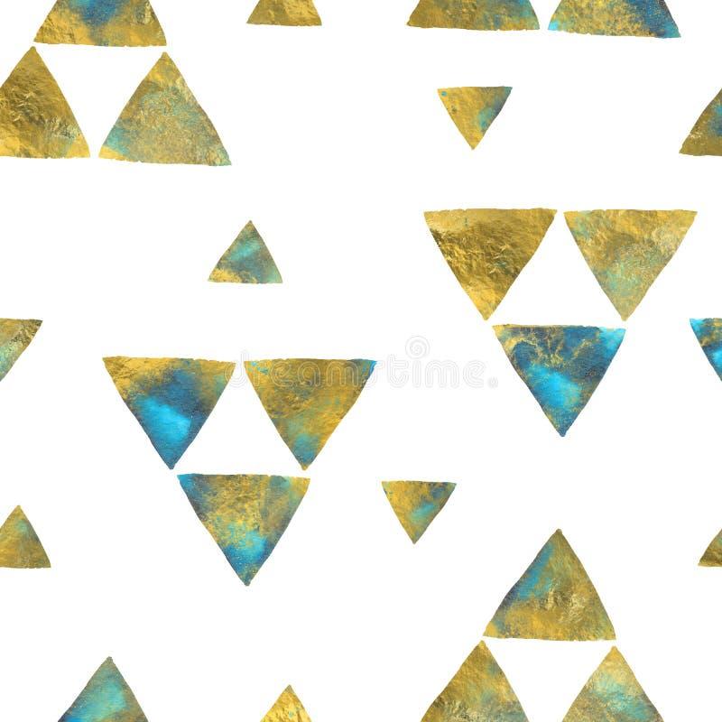 Треугольники сини и золотого песка бирюзы на белизне акварель предпосылки безшовная бесплатная иллюстрация
