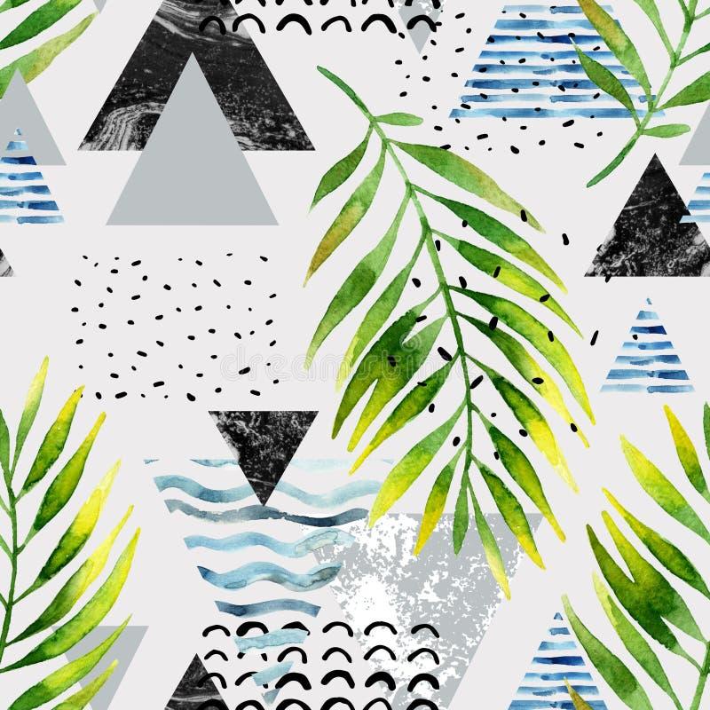 Треугольники с листьями пальмы, doodle, мрамор, текстуры grunge, геометрические формы в 80s, минимальный стиль 90s иллюстрация штока
