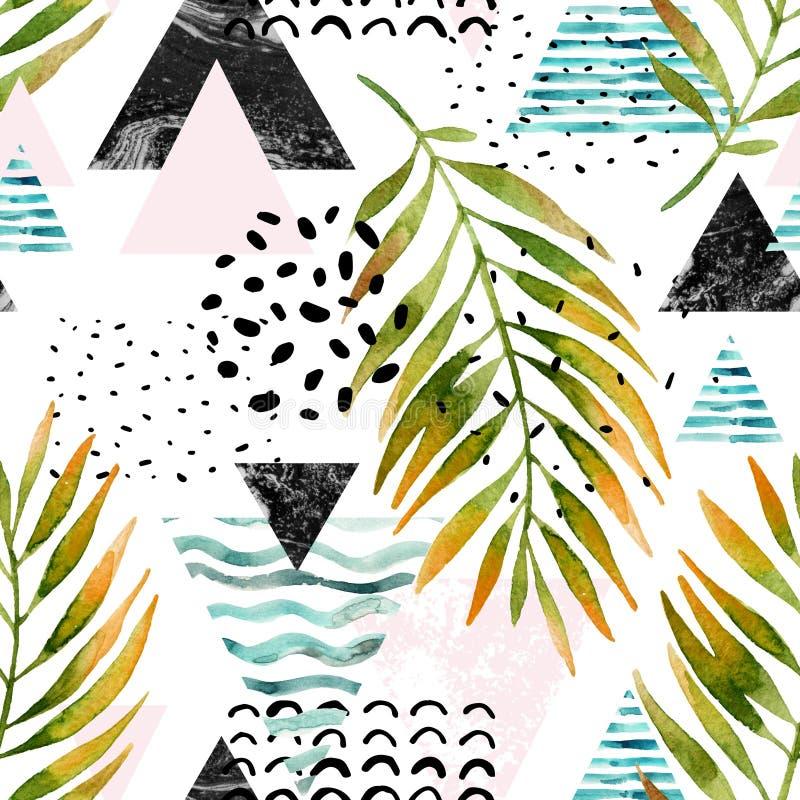 Треугольники с листьями пальмы, doodle, мрамор, текстуры grunge бесплатная иллюстрация