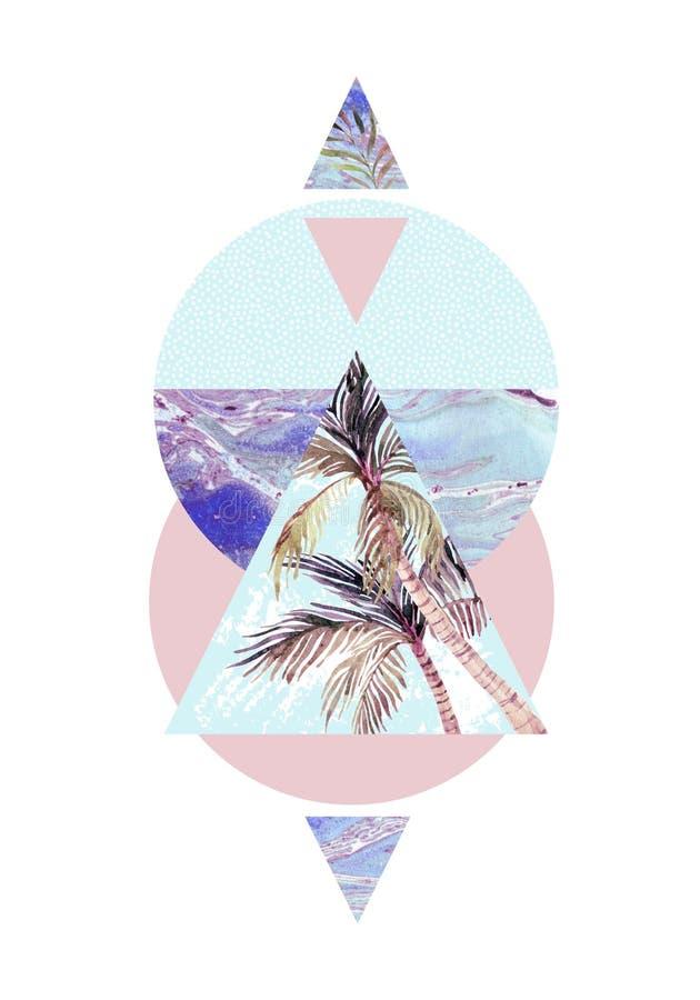 Треугольники с текстурами grunge пальмы, лист и мрамора бесплатная иллюстрация