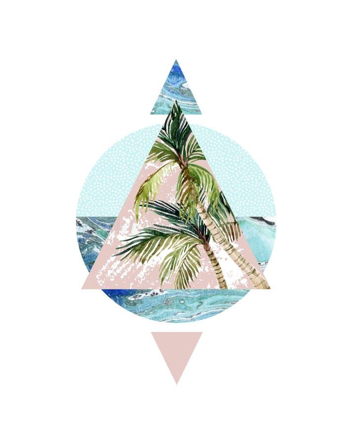 Треугольники с текстурами grunge пальмы, лист и мрамора иллюстрация штока