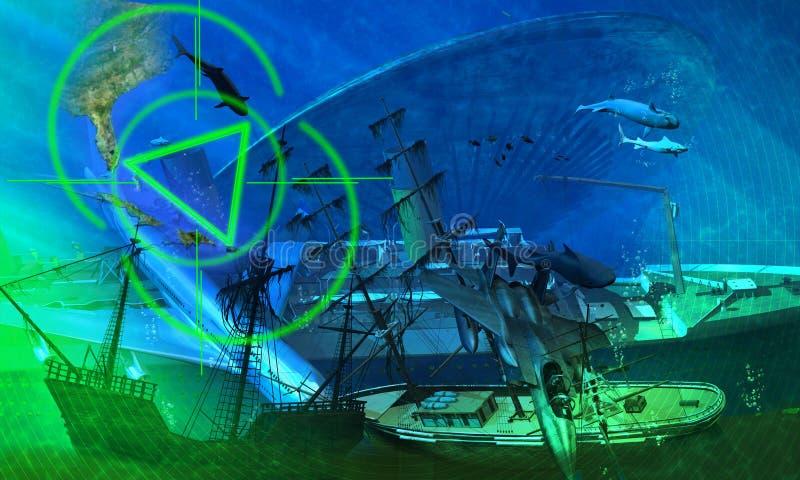 треугольник Бермудских островов иллюстрация вектора