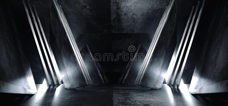 Треугольник конспекта космического корабля Sci Fi футуристический виртуальный сформировал коридор белого зарева лоснистого Grunge иллюстрация штока