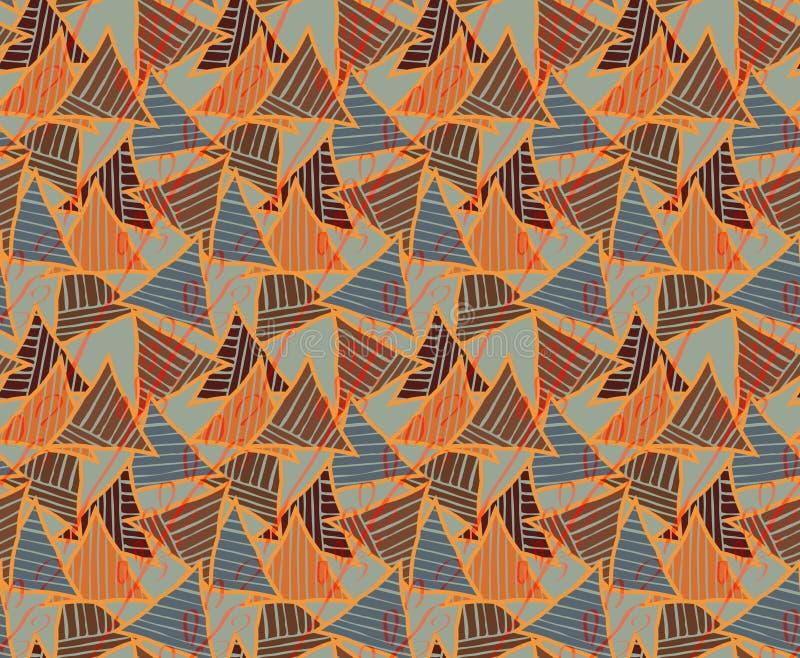 Треугольники голубые и striped коричневое иллюстрация вектора