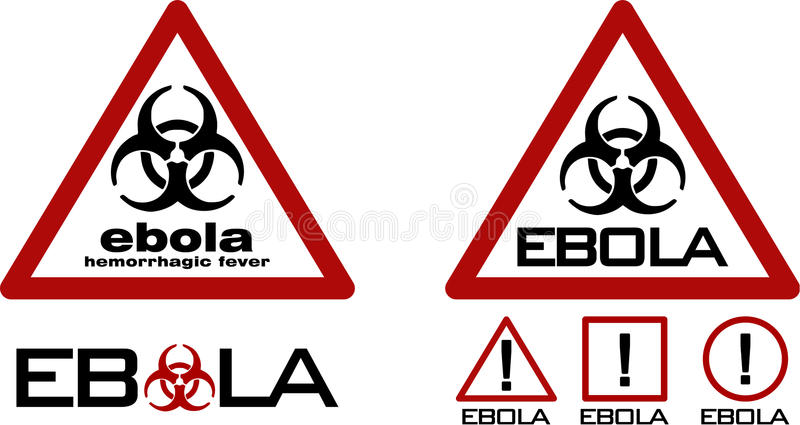 Треугольник дороги предупреждающий с черным символом biohazard и ebola отправляют СМС стоковое изображение