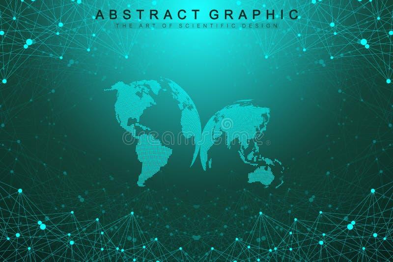 Трехмерная абстрактная планета, представляя глобальную, международную концепцию сети технологии смысла цифрово бесплатная иллюстрация
