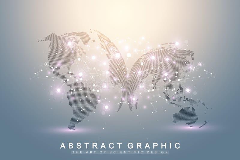 Трехмерная абстрактная планета, представляя глобальную, международную концепцию сети технологии смысла цифрово иллюстрация штока