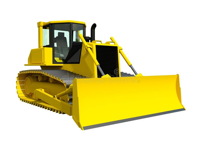 Трехмерная иллюстрация растра бульдозера Желтый бульдозер белизна предмета машинного оборудования конструкции предпосылки изолиро иллюстрация вектора