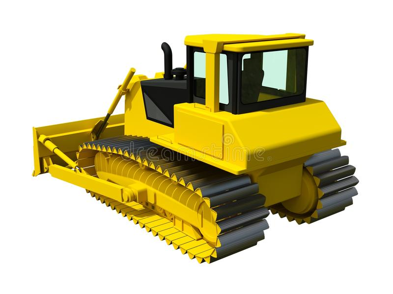 Трехмерная иллюстрация растра бульдозера Желтый бульдозер белизна предмета машинного оборудования конструкции предпосылки изолиро иллюстрация штока