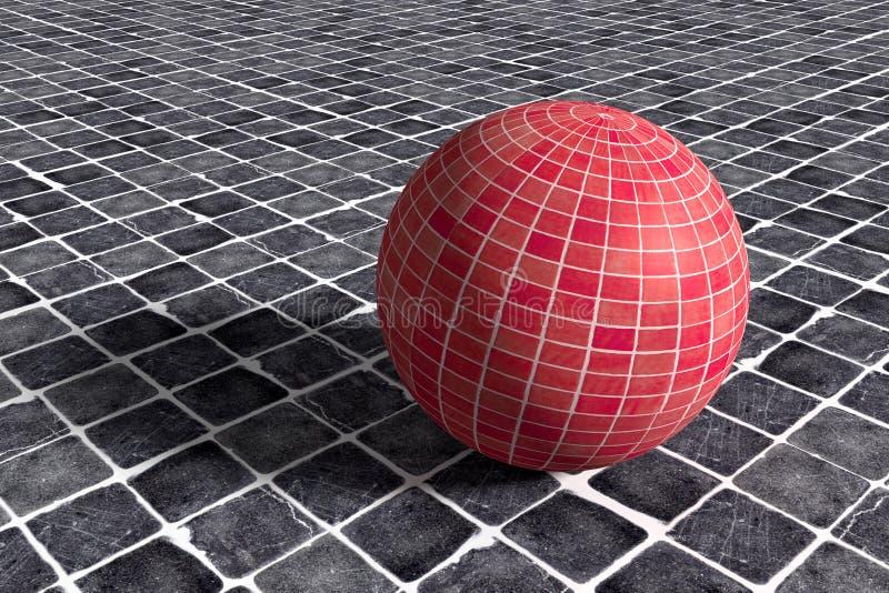 Трехмерная красная керамическая сфера на черном керамическом поле иллюстрация штока