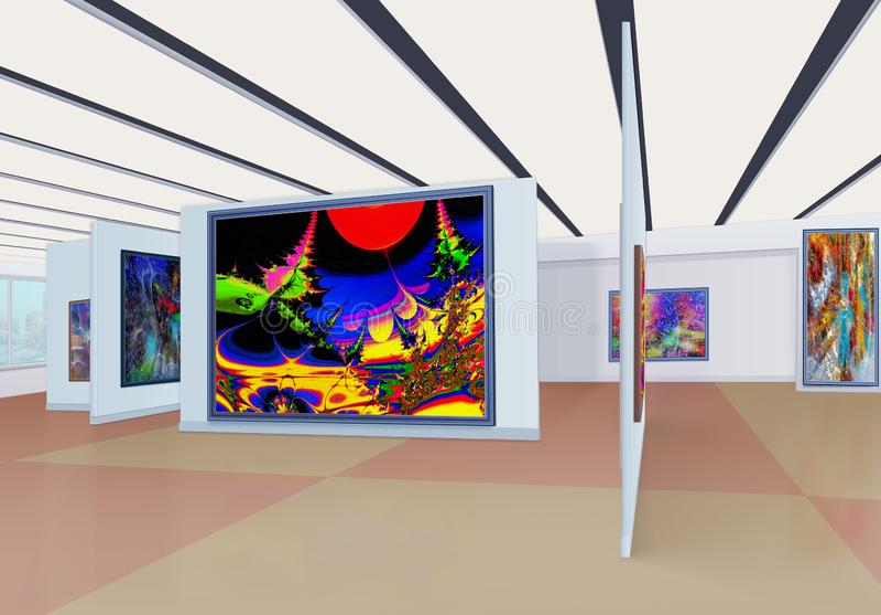 Трехмерная панорама залы художественной галереи с m стоковое фото rf