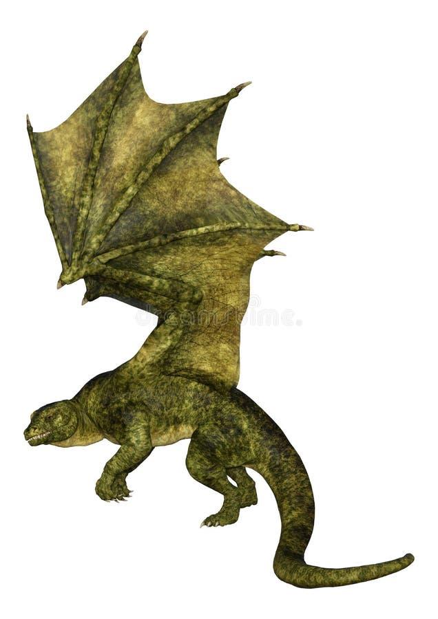 Трехмерный дракон с изображением волосатого чертежа на белом стоковое фото rf