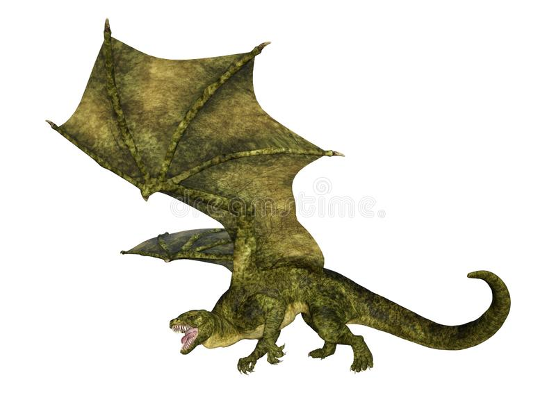 Трехмерный дракон с изображением волосатого чертежа на белом стоковое изображение