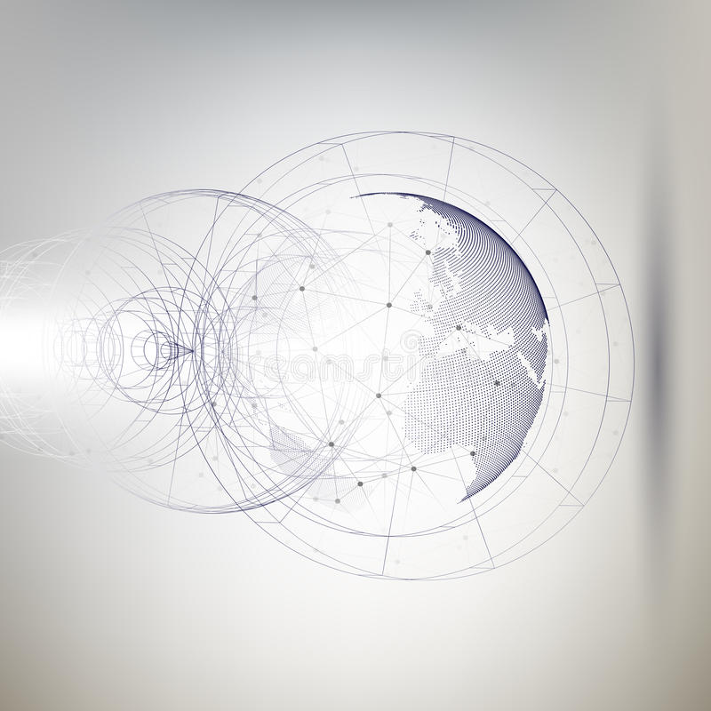 Трехмерный поставленный точки глобус мира с абстрактной конструкцией и молекулы на серой предпосылке, низком поли векторе дизайна бесплатная иллюстрация