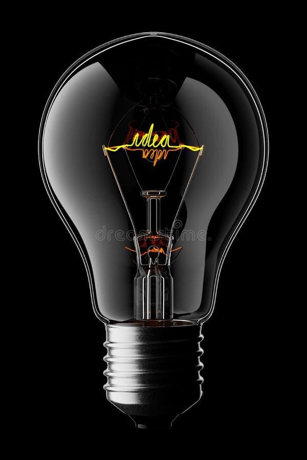 Трехмерный светящийся лампа с помощью идеи Word как нить бесплатная иллюстрация