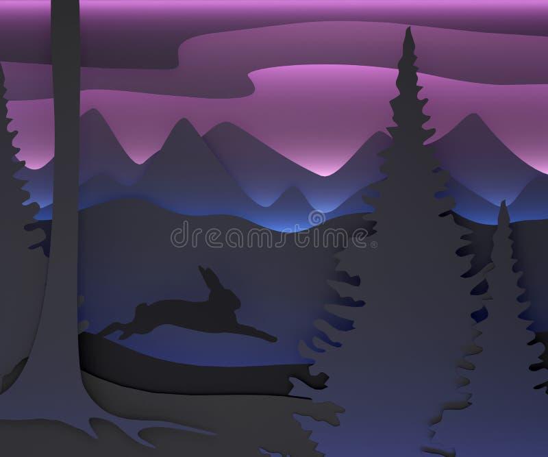 Трехмерный состав с идущим зайцем иллюстрация вектора