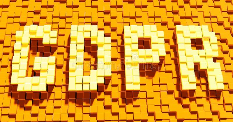 Трехмерный текст GDPR, закон уединения общей защиты данных регулированный причиняя запутанность интернета, перевод 3D иллюстрация штока