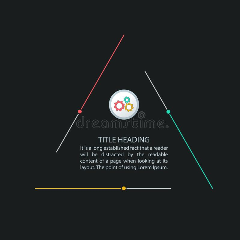 Триангулярное infographics, процесс 3 шагов, multicolor шаблон infographics для представлений корпоративного бизнеса иллюстрация штока