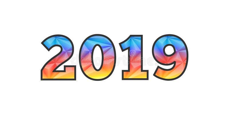 Триангулярные года 2019 бумажные полигональные разбрасывают дизайн Дизайн градиента Poligon бесплатная иллюстрация