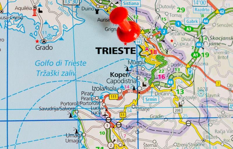 Триест на карте стоковое изображение