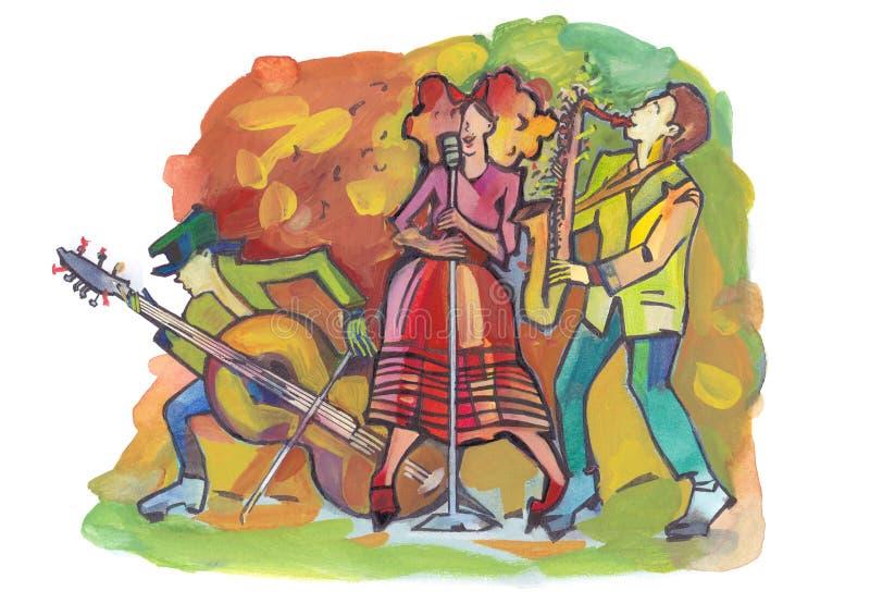 Трио джаза иллюстрация вектора