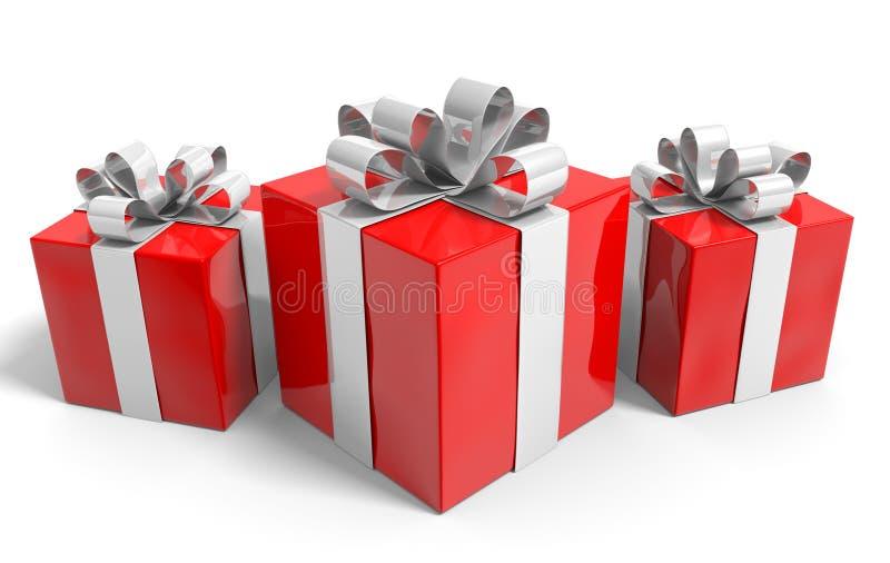 Трио подарков рождества аккуратно обернутых в серебряных лентах иллюстрация штока