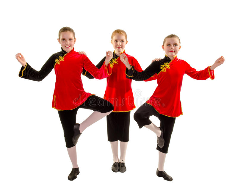 Трио танцора джаза в костюме воодушевлянном азиатом стоковое фото rf