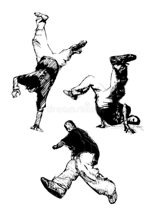 трио танцы пролома иллюстрация штока