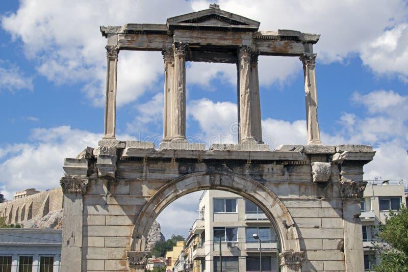 Триумфальный свод Адриана в центре Афина стоковые изображения rf