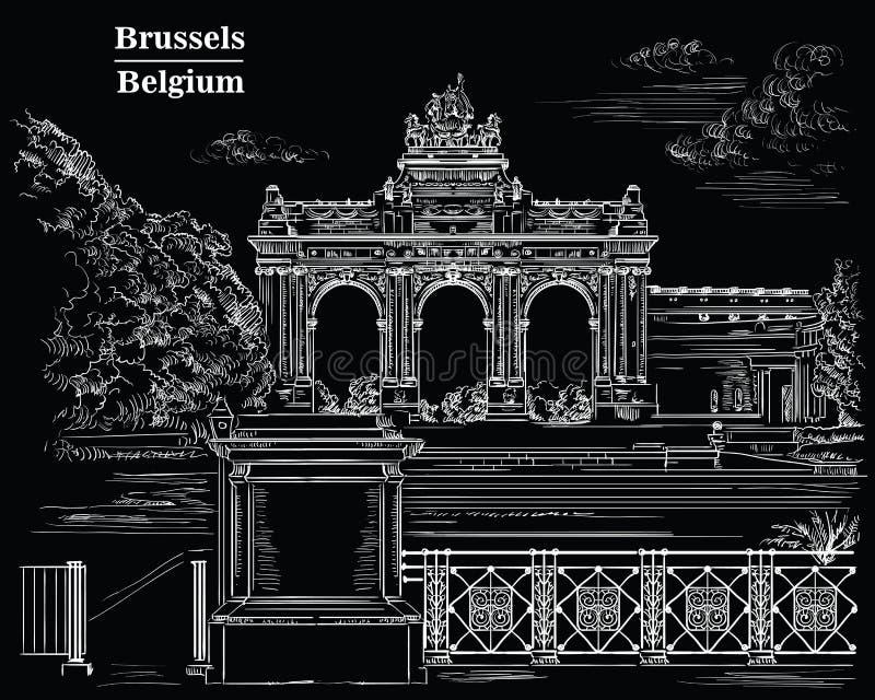 Триумфальный свод в парке пятидесятой годовщины в Brusse иллюстрация вектора