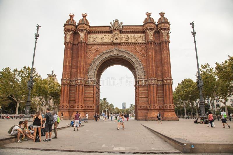 триумф barcelona de triomf свода дуги стоковое фото