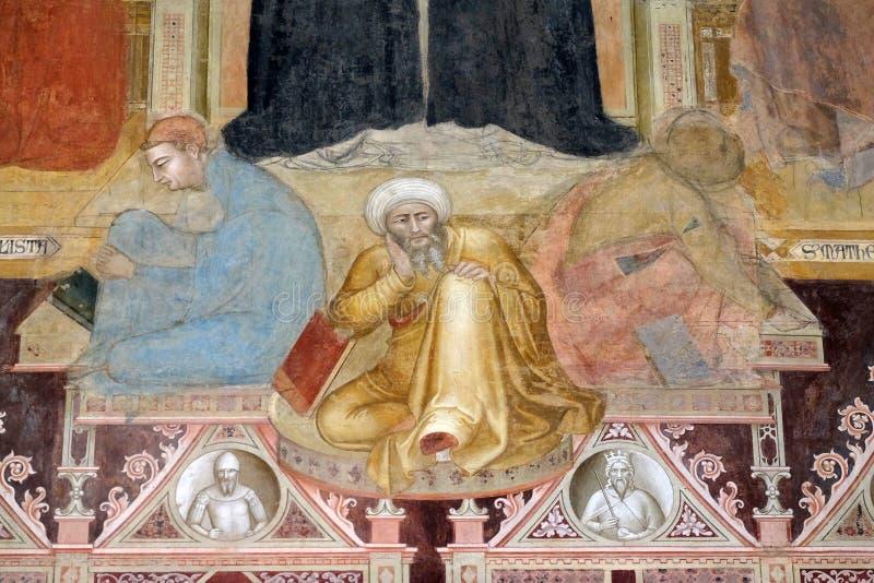 Триумф St. Thomas Aquinas с heretics, докторами, добродетелями, олицетворениями и выученный наук и гуманитарных наук стоковое изображение