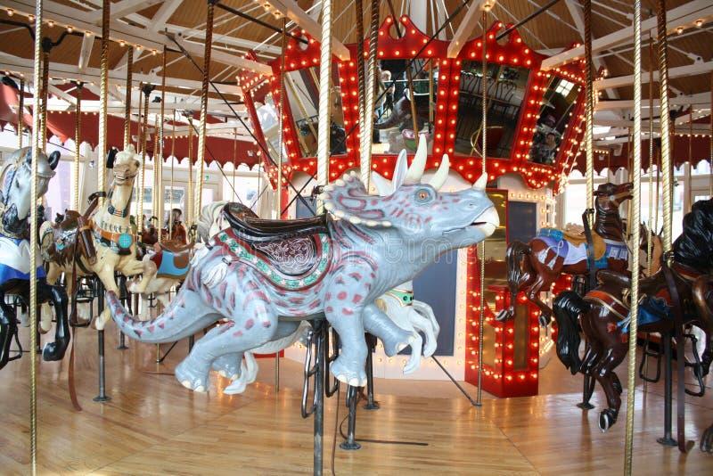 Трицератопс динозавра Carousel стоковое изображение