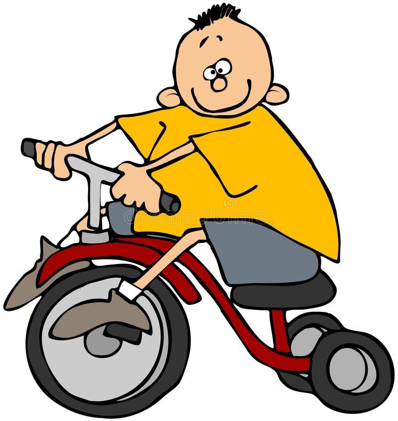 трицикл мальчика иллюстрация вектора