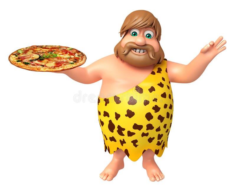 Троглодит с пиццей бесплатная иллюстрация