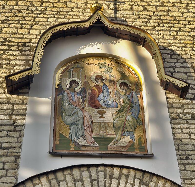 Троица Ветхого завета значка строба мозаики конструировала e Klimov и сделанный в 1942 в Германии стоковая фотография rf