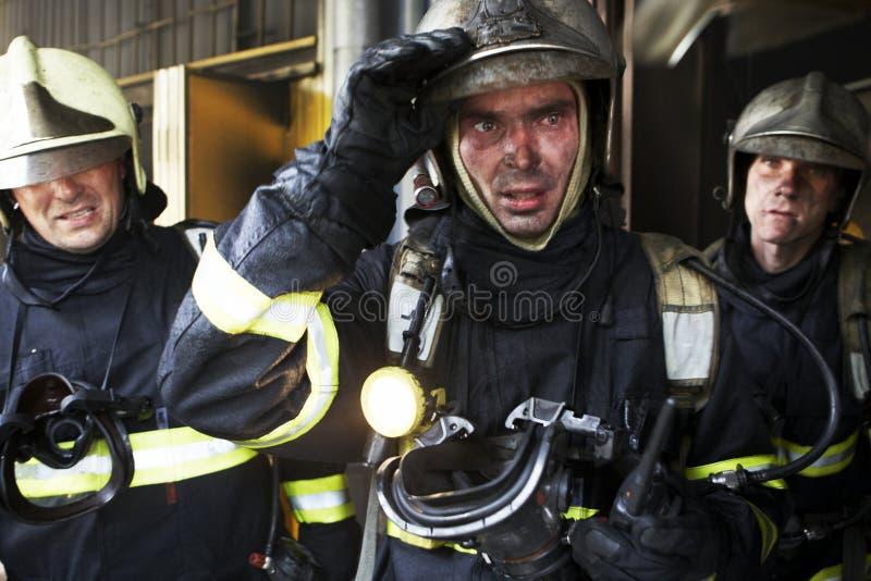 троица пожарных стоковое изображение rf