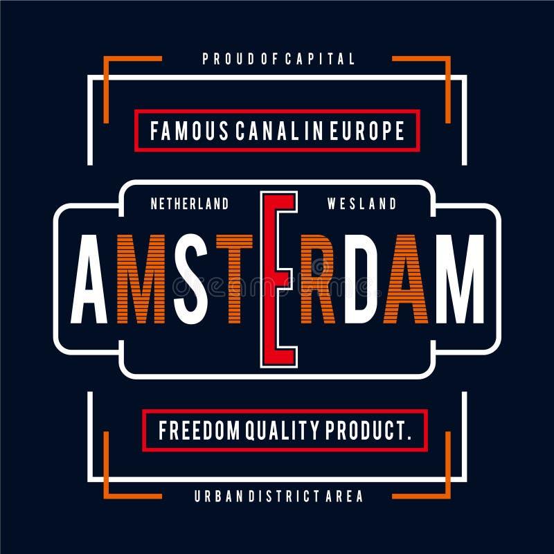 Тройник дизайна оформления города Амстердама для печати футболки другие пользы, иллюстрация вектора иллюстрация штока
