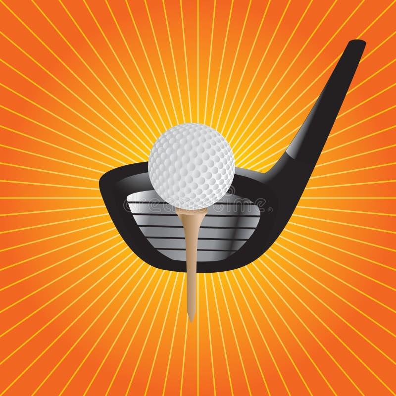 тройник starburst гольфа клуба шарика померанцовый иллюстрация штока